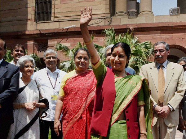 Sushma Swaraj arrives for taking charge