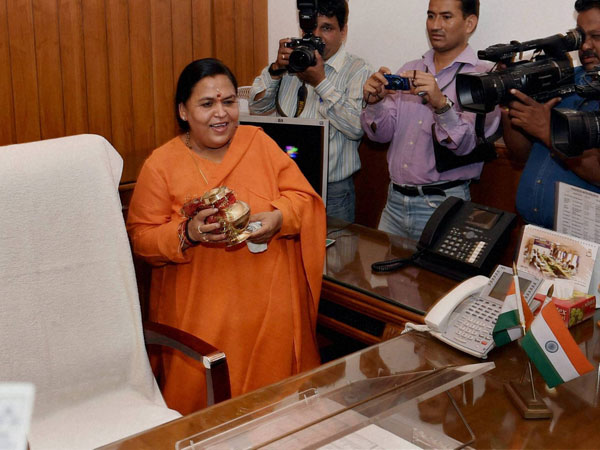 Uma Bharti takes charge as the Union Minister for Water Resources