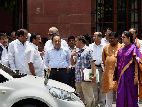 Union ministers and officials after the Cabinet Meeting