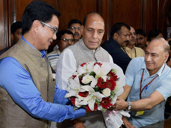 ome Minister Rajnath Singh is greeted by MoS Kiren Rijiju