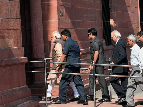 Modi walks through PMO, posts picture