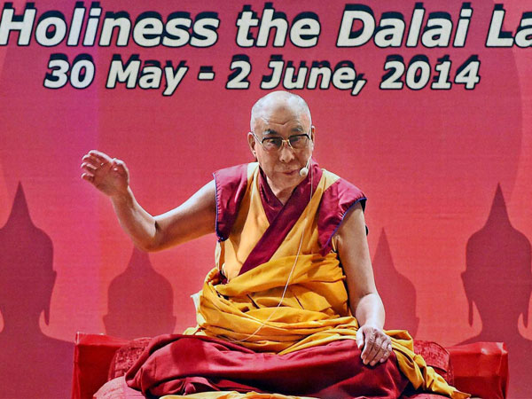 Tibetan Spiritual leader Dalai Lama gives a speech