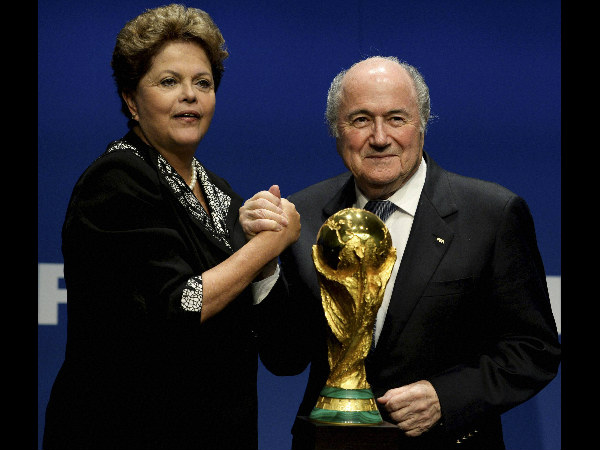 File photo: FIFA President Sepp Blatter, right, with Dilma Rousseff, President of Brazil