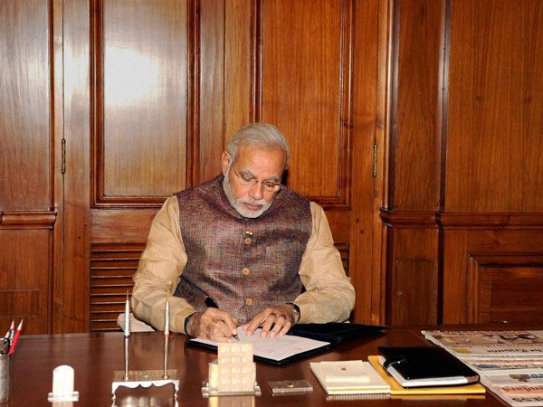 Prime Minister Narendra Modi takes charge of the office