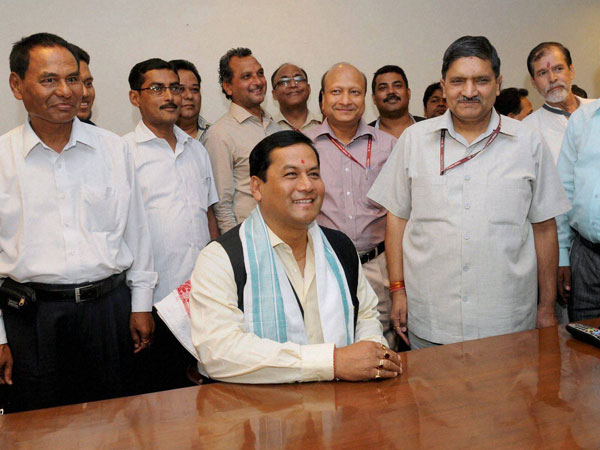 Sarbananda Sonowal greets media after assuming charge as Minister of State