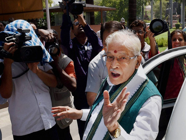 Senior BJP leader Murli Manohar Joshi talking to the media