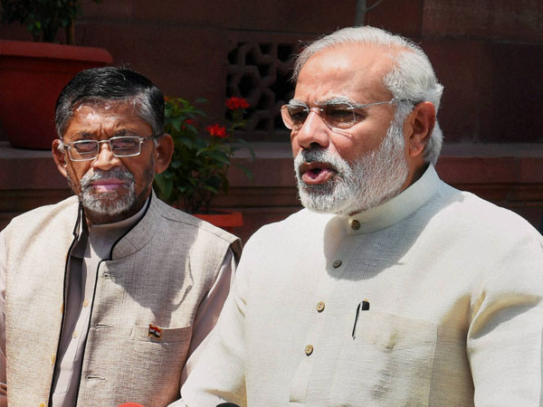 Prime Minister Narendra Modi with MoS for Parliamentary Affairs