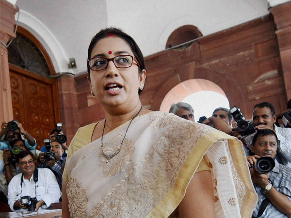 Human Resource Development minister Smriti Irani at Parliament House