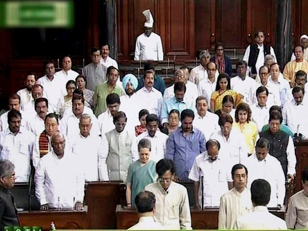 A scene of 16th Lok Sabha proceedings on the first day