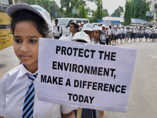 A school student taking part in an awareness rally