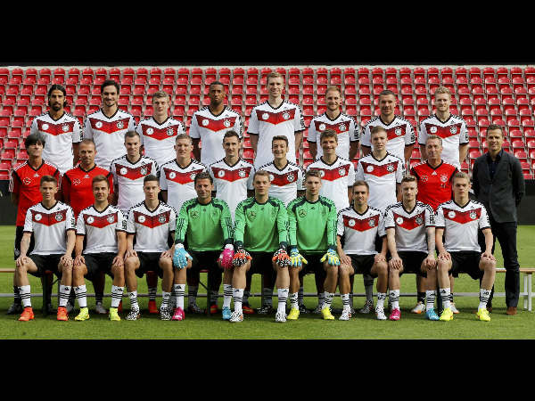 Players of Germany's World Cup squad line up for the official team photo in Mainz, Germany, Thursday, June 5, 2014. Front row from left: Erik Durm, Mario Goetze, Julian Draxler, Roman Weidenfeller, Manuel Neuer, Ron-Robert Zieler, Philipp Lahm, Marco Reus and Matthias Ginther. Middle row from left: Coach Joachim Loew, assistant coach Hansi Flick, Kevin Grosskreutz, Bastian Schweinsteiger, Miroslav Klose, Mesut Oezil, Thomas Mueller, Christoph Kramer, goal keeper coach Andreas Koepcke and manager Oliver Bierhoff. Back row from left: Sami Khedira, Mats Hummels, Toni Kroos, Jerome Boateng, Per Mertesacker, Benedikt Hoewedes, Lukas Podolski and Andre Schuerrle.