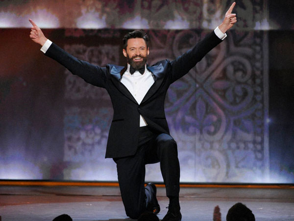 Host Hugh Jackman performs onstage at the 68th annual Tony Awards