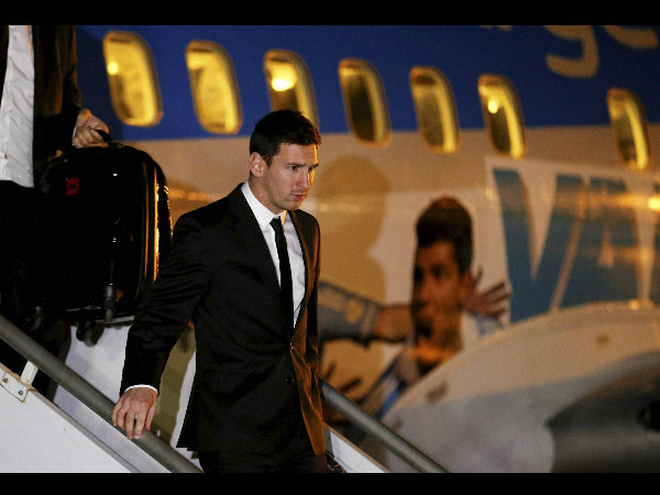 Argentina's Lionel Messi arrives at the Tancredo Neves International Airport in Belo Horizonte, Brazil, on June 9. Argentina's team arrived in Brazil for the 2014 World Cup