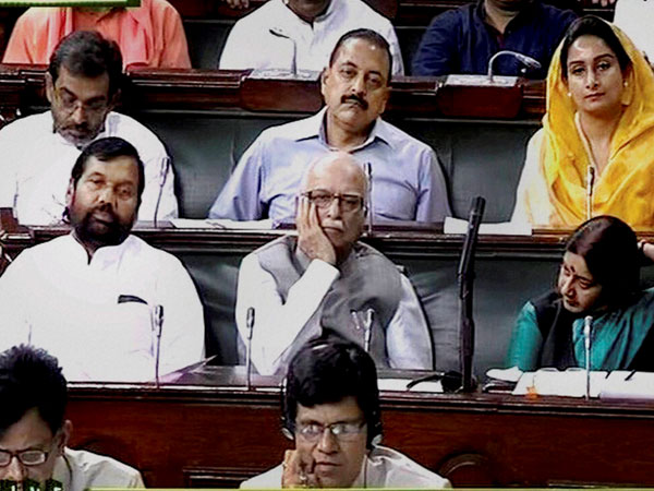 BJP senior leader LK Advani with Union ministers Sushma Swaraj