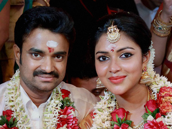 Actress Amala Paul and director A. L Vijay during their wedding ceremony