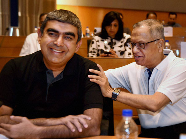 Infosys Executive Chairman N R Narayana Murthy with newly appointed CEO & MD Vishal Sikka