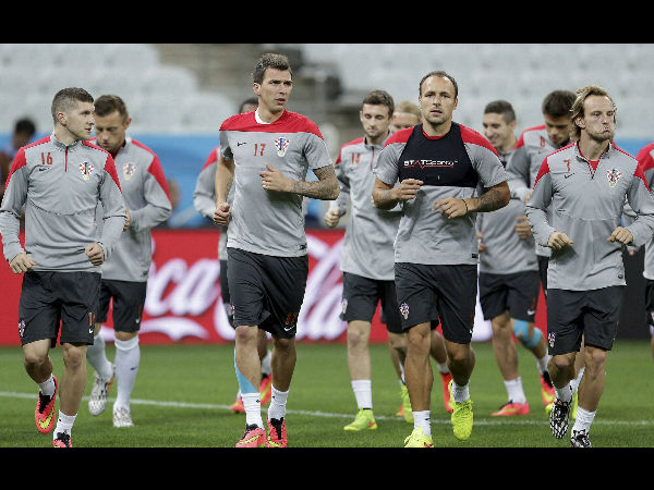 Croatia players train for their opening World Cup game against Brazil