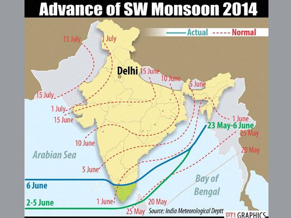 SW monsoon moves into Kar, Goa, Konkan