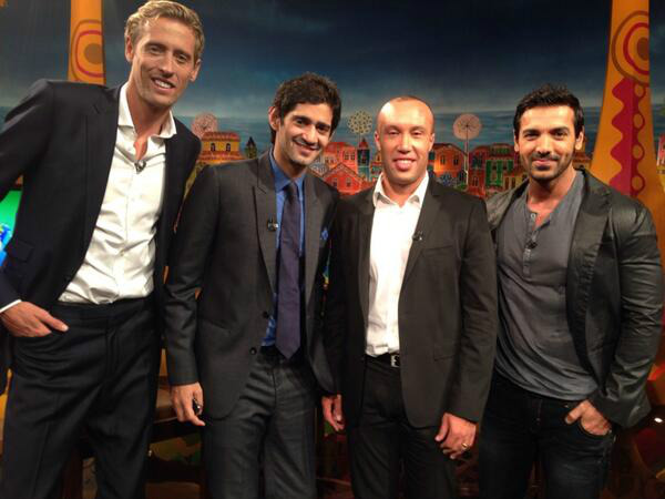 Crouch, Gaurav, Silvestre and John Abraham on 'Cafe Rio'. Photo from John's Twitter account