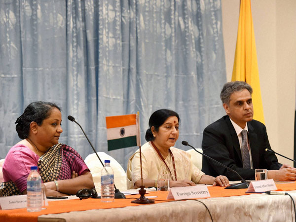 External Affairs Minister Sushma Swaraj along with Foreign Secretary Sujatha Singh