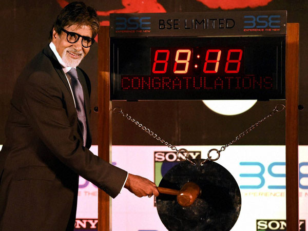 Bollywood Actor Amitabh Bachchan rings the bell at BSE