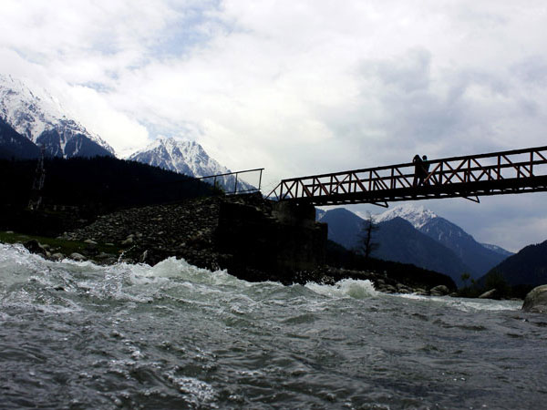 A view of the Liddar River which flows through the Pahalgam valley