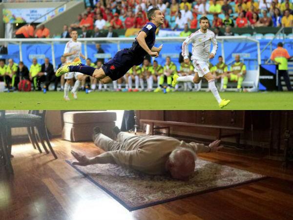 Top: Van Persie's brilliant goal. Below: Opa Win's similar pose (Wim's photo from Twitter account of Elko Born)
