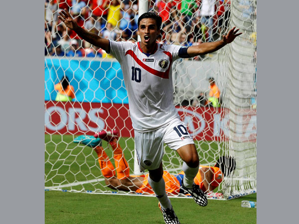 Costa Rica's Bryan Ruiz celebrates after scoring his side's first goal