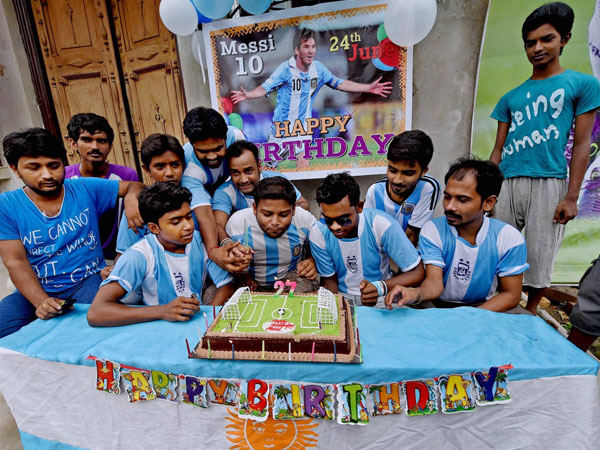 Fans celebrate the birthday of Argentina soccer star Lionel Messi