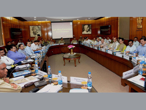 Union Home Minister Rajnath Singh at a meeting with the Chief Secretaries and DGPs