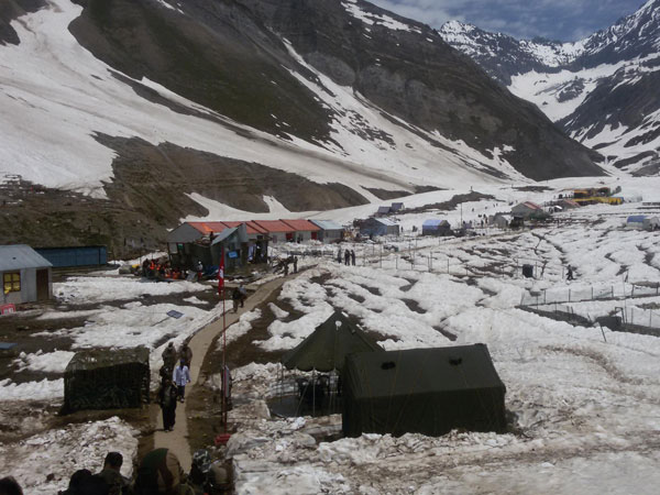 A view of snow-clad Sheshnag base camp in Jammu and Kashmir