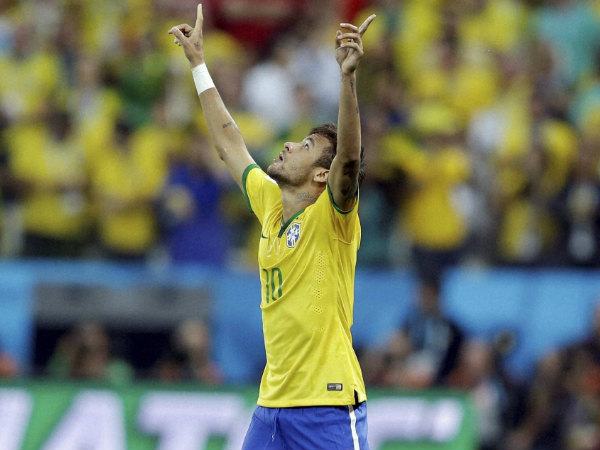 Neymar's reaction after scoring his maiden World Cup goal