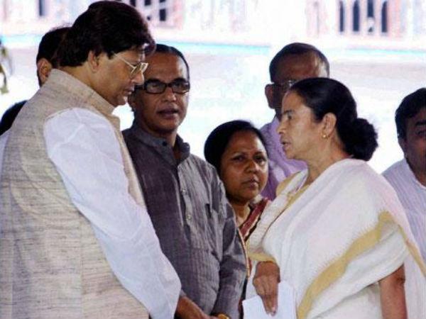 TMC MP Tapas Pal with Mamata Banerjee.