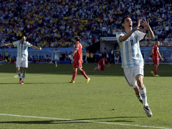 Argentina's Angel di Maria celebrates after scoring his side's only and winning goal in extra time against Switzerland