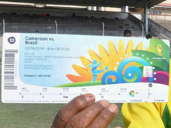 File photo: World Cup ticket for Brazil-Cameroon match
