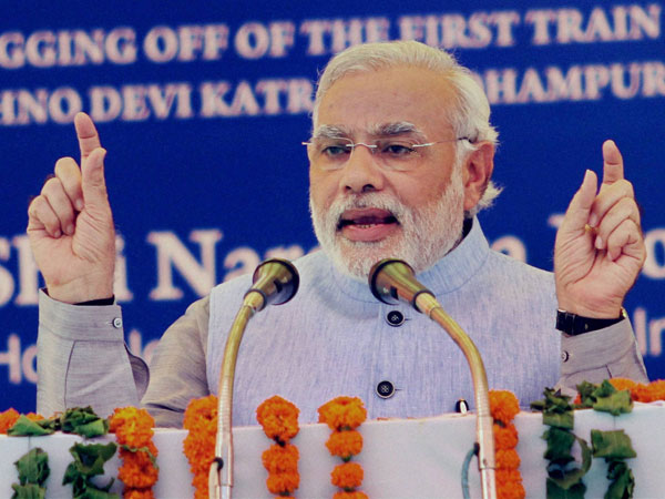 Modi speaks during the inauguration of Katra-Udhampur rail link