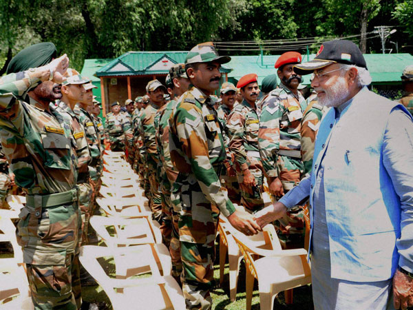 Prime Minister Narendra Modi meeting Army soldiers