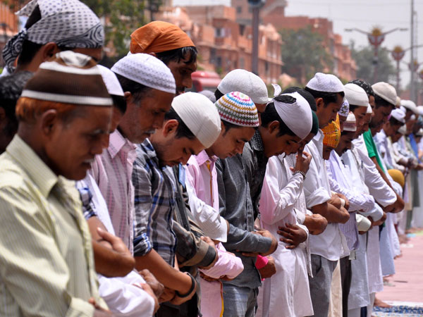 People offer Namaz at Jama Masjid during Ramadan