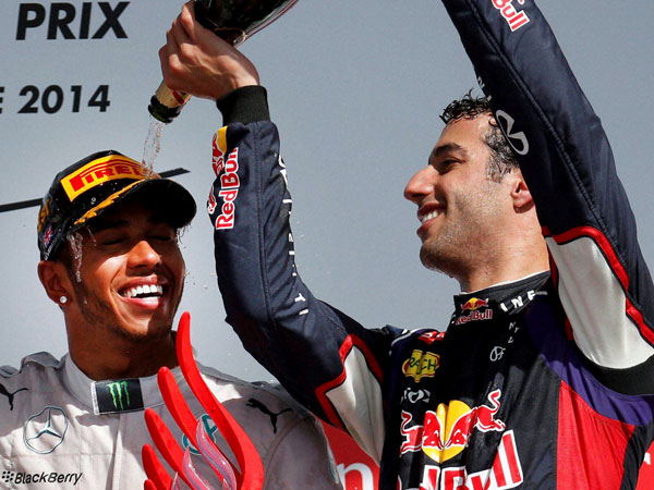Australia's Daniel Ricciardo, right, of Red Bull