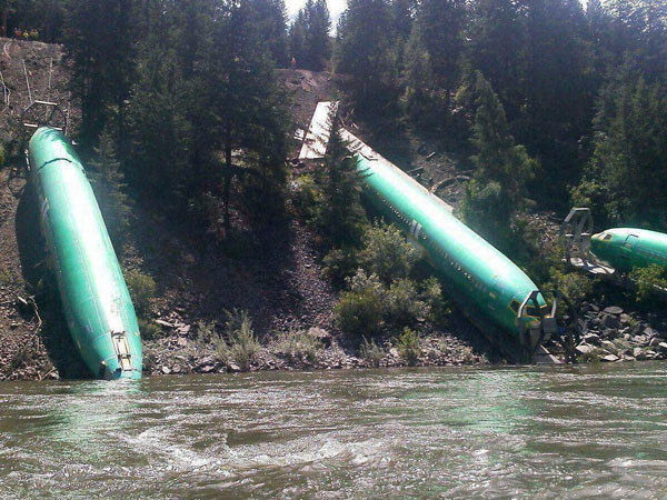 Waters Whitewater Rafting shows a freight train that derailed