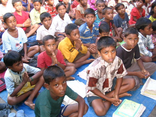 Children getting education at Government school