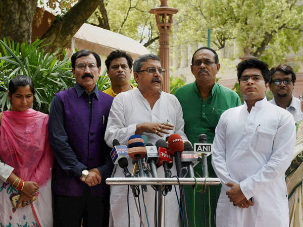 TMC MPs react on rail budget at Parliament House
