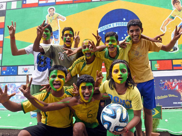 Brazil fans cheer in Kolkata