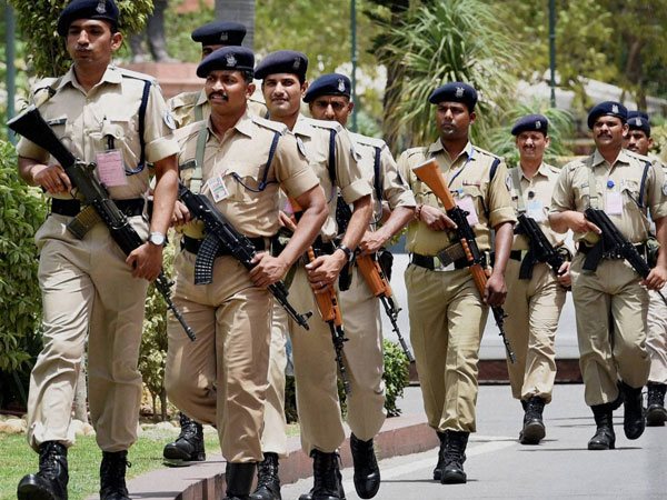 Security personnel at Parliament House in New Delhi