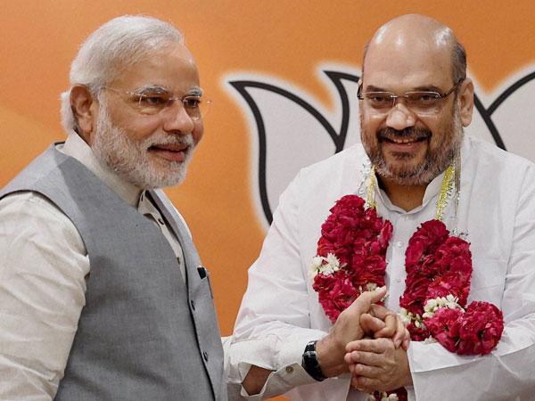 Prime Minister Narendra Modi with newly elected BJP President Amit Shah
