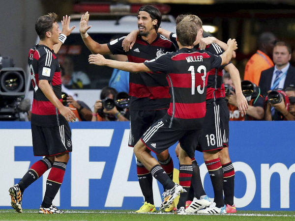 Germans celebrate a goal against Brazil