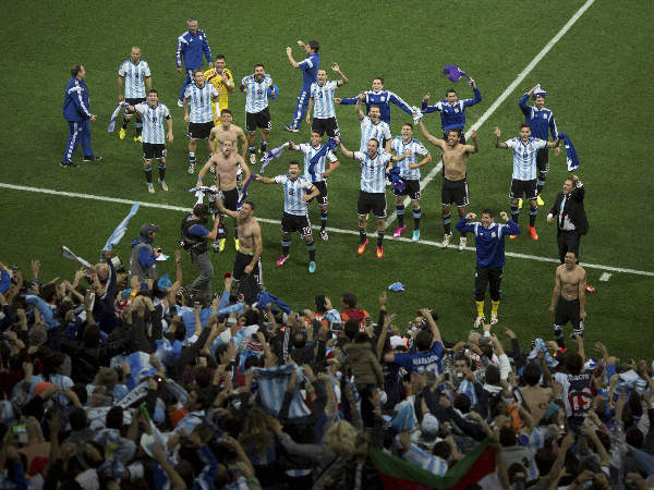 File photo: Argentine players celebrate with fans after winning the semi-final against Netherlands