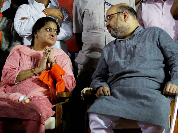 Newly elected BJP President Amit Shah with his wife