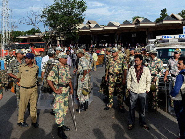 Armed Paramilitary force deployed in front of the Mahatma Gandhi