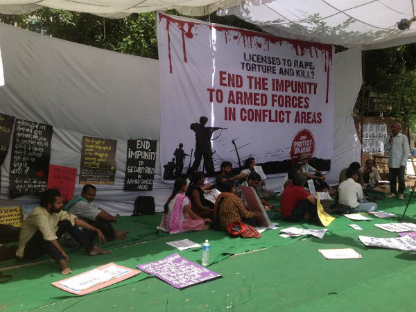 Protest at Jantar mantar, New delhi against repealing of AFSPA